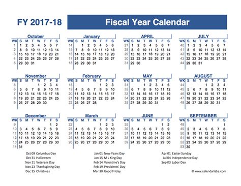 Calendar 2018 Quarters 2017 2018 Fiscal Planner Us Free Printable Templates