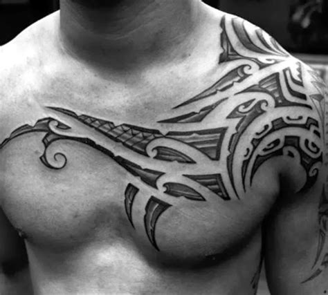 mens shaded tattoo designs 50 tribal chest tattoos for masculine design ideas