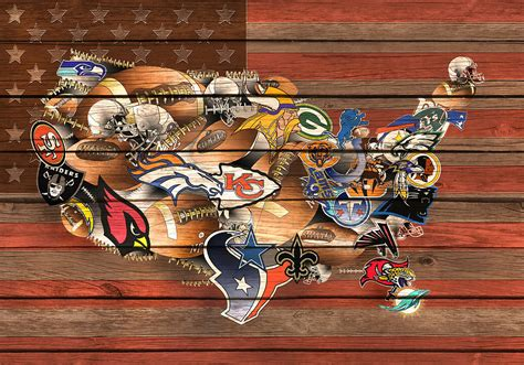 nfl usa map usa nfl map collage 6 painting by bekim