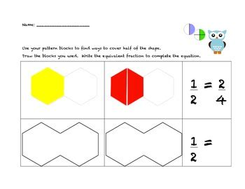 pattern block fractions video pattern block fraction worksheets math worksheets