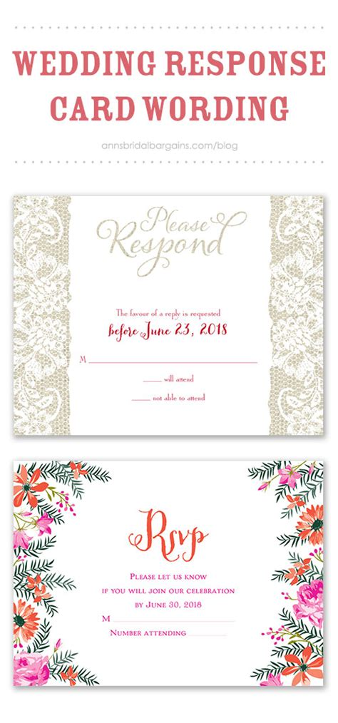 wedding response wording wedding response card wording