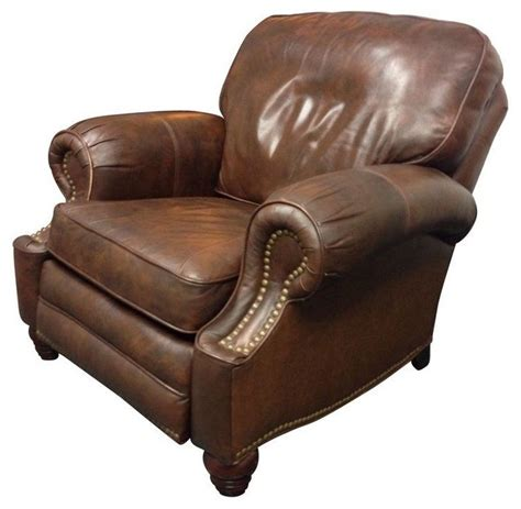 reclining accent chair classic leather reclining club chair traditional