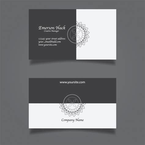black and white card template black and white business card vector free