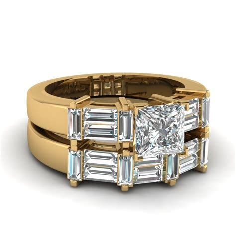 2 5 ct princess cut and baguette big wedding ring