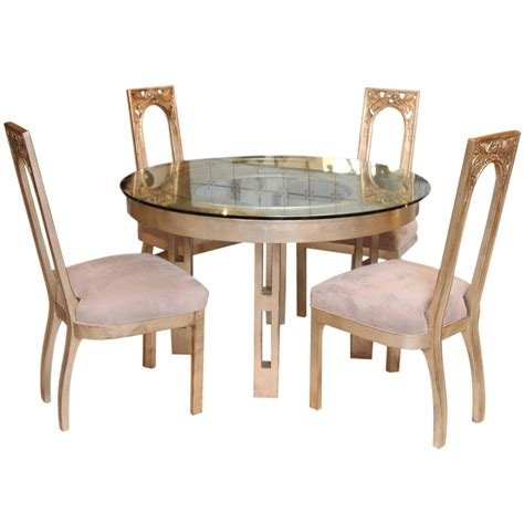 1960s glazed silver leaf dining table and four chair