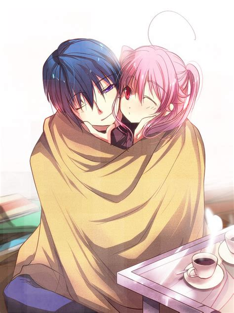 anime couple hugging anime hug on tumblr