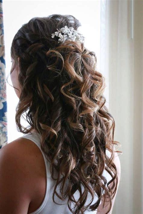 wedding hair wedding accessories half up half updo curls wedding jewelry happily
