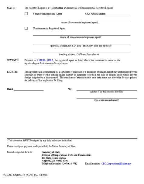Maine Cover Letter by Free Maine Application For Authority To Carry On Activities Foreign Nonprofit Corporation Form