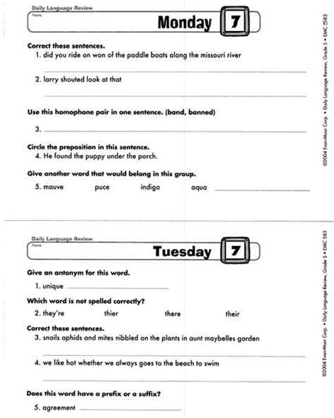 Daily Language Review Grade 5 Worksheets all worksheets 187 daily language review grade 5 worksheets printable worksheets guide for