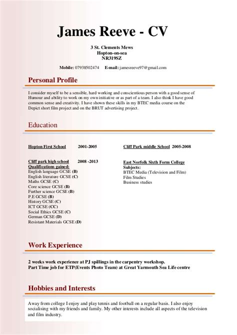 how to make curriculum vitae format cv for btec media