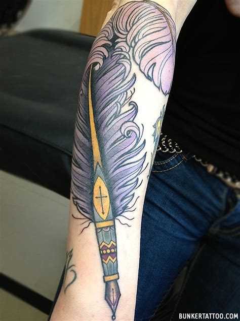 tattoo from pen traditional feather pen tattoo www imgkid com the