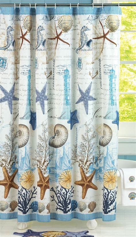 beach shower curtains bath accessories beach theme shower curtain w starfish seahorses