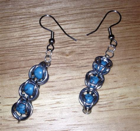 captured bead chainmaille turquoise captured bead chain maille earrings