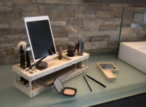 Makeup Desk Accessories Wood Modern Daily Make Up Organizer With Mirror