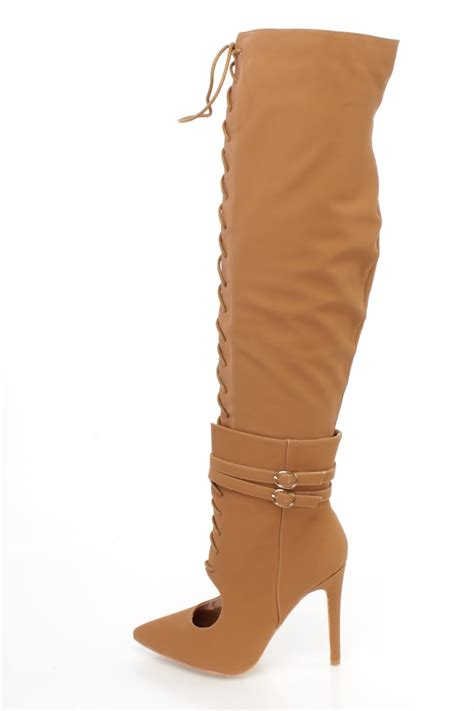 camel thigh high boots camel thigh high lace up high heel boots nubuck