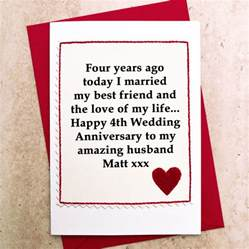 4th year wedding anniversary gift personalised 4th wedding anniversary card by arnott