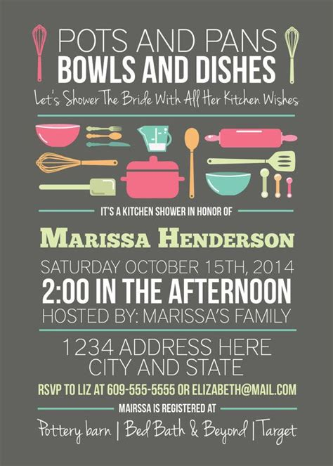 kitchen bridal shower ideas kitchen shower bridal shower invitation pots and pans