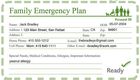 emergency response card template family disaster preparedness ready marin