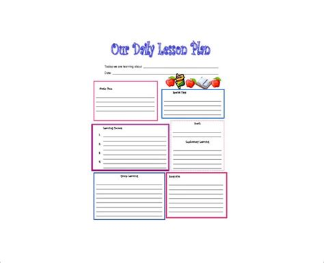 free daily lesson plan template daily lesson plan template 12 free sle exle