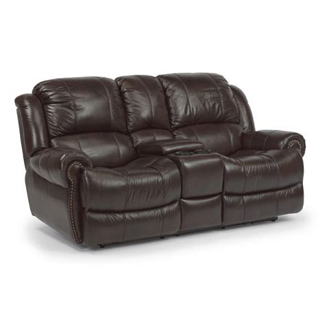 power reclining console loveseat flexsteel 1311 604p capitol leather power reclining