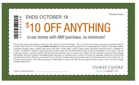 printable yankee candle coupons november 2015 hurry rare 10 off yankee candle no minimum purchase