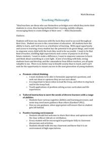 Personal Philosophy Essay by Teaching Philosophy Outline