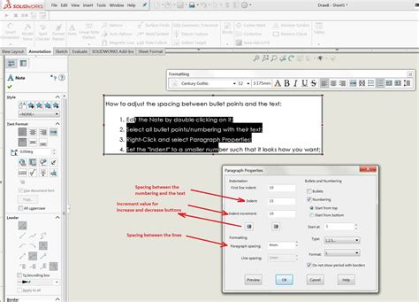 solidworks tutorial indent how to manage solidworks drawing note bullet and number