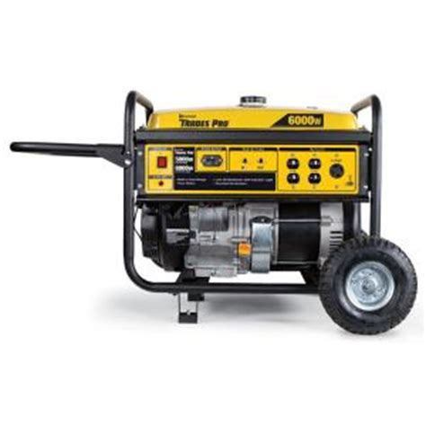 tradespro 6 000 watt gasoline powered portable generator
