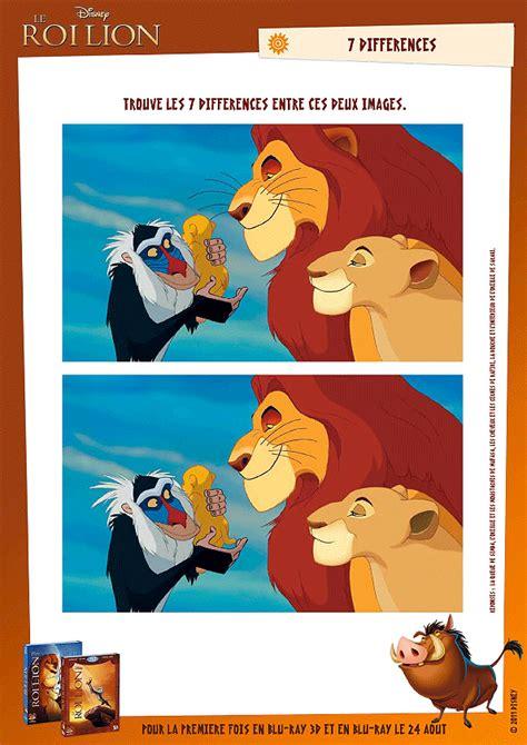 Activit 233 Disney Le Roi Lion Et Les 7 Diff 233 Rences