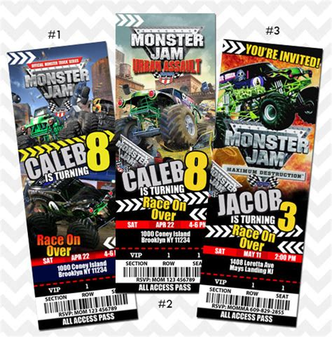 tickets to monster truck show monster jam ticket invitation monster jam truck by asherprints