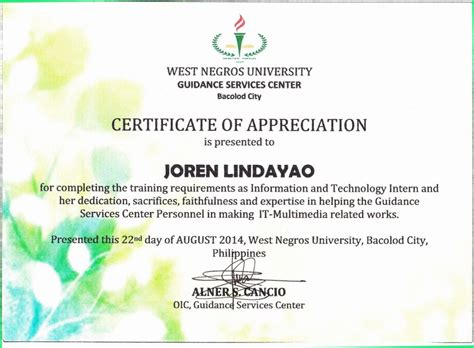 certificate of ojt completion template sample certificate of