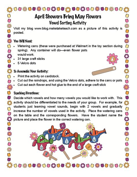 April Showers Bring May Flowers Activities april showers bring may flowers vowel sorting activity