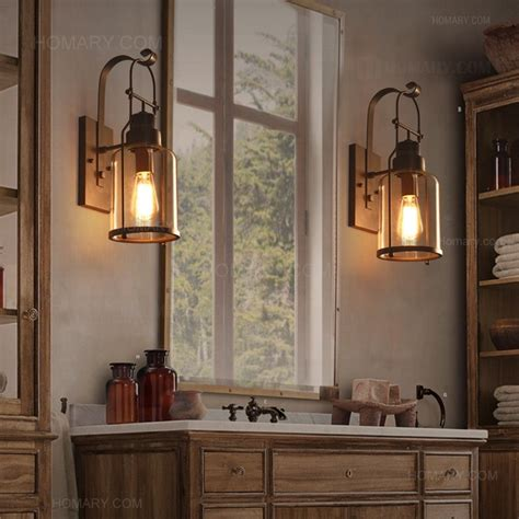 Lantern Wall Sconce Indoor Industrial Loft Rust Metal Lantern Single Wall Sconce With