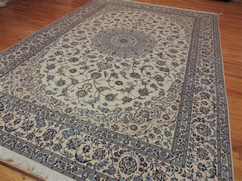 Area Rug 9x12 Genuine Nain 9x12 Area Rug Wool Silk Knotted Blue Beige Ebay