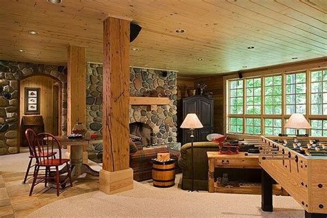 log cabin basement home