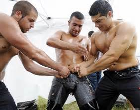 Nude gay oil wrestling
