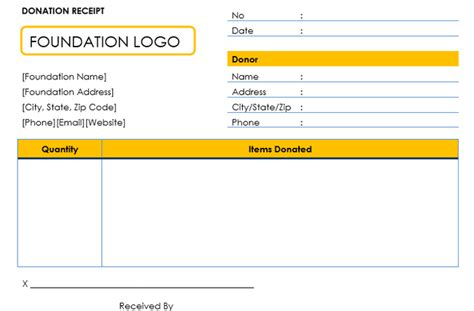 goods donation receipt template donation receipt template 12 free sles in word and excel