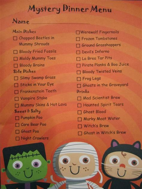 dinner menu ideas mccormick dish spoon foodie gumshoes fun halloween mystery