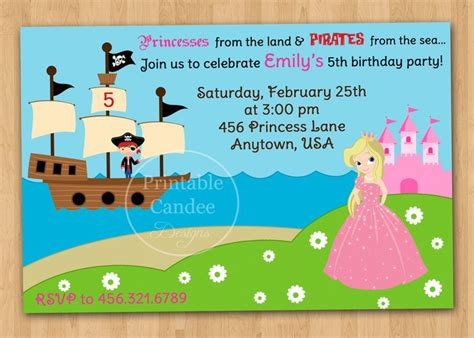 pirate and princess invitations template free - Free Princess And Pirate Invitation Template