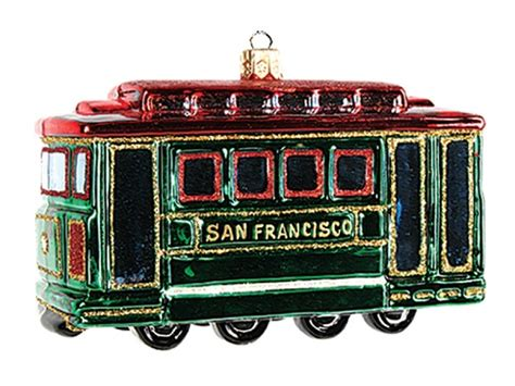 san francisco cable car polish mouth blown glass christmas