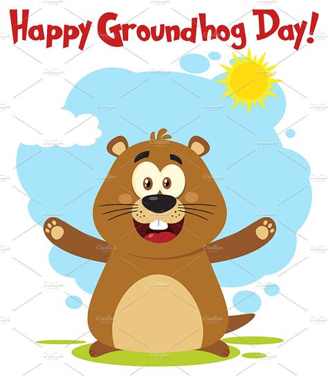groundhog day one day marmot with open arms and text illustrations creative