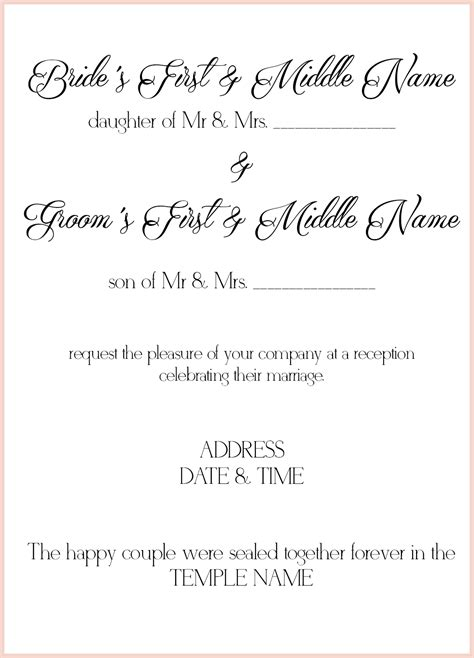How To Determine Wording Of Wedding Invitations by 8 Lds Wedding Invitation Wording Sles Lds Wedding