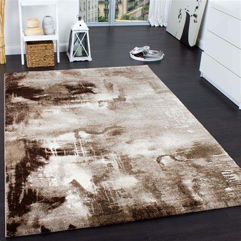 teppich beige braun teppich modern designer teppich leinwand optik meliert