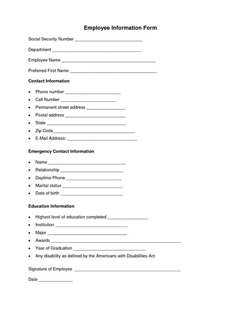 employee information form template employee information form employee forms