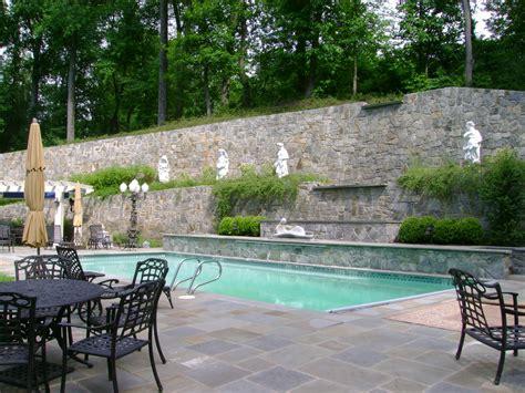 landscape pool sculpture garden traditional pool