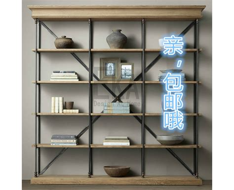 american vintage industrial style bookcase shelves wood