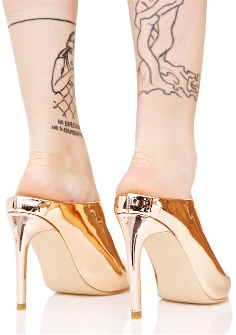 All Dolled Up In Gilded Metallics by Gilded Glare Metallic Mules Dolls Kill