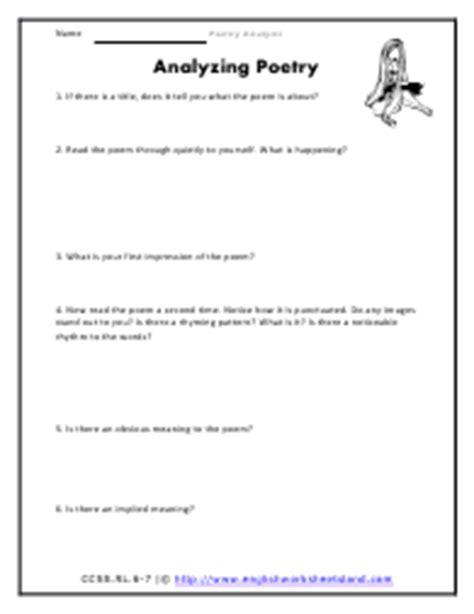 Poetry Analysis Worksheet by Analyzing A Poem Worksheet Ommunist