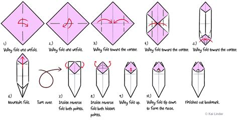 Origami Cat Diagrams - origami cat bookmark diagrams by katana cat on deviantart
