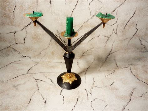 Iron Candle Stick Black 1 Hd 17 vintage candle holder iron candlestick from 70s black